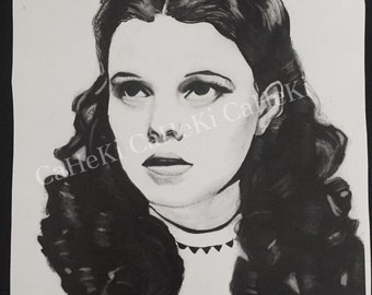 Judy Garland as Dorothy from Wizard of Oz Charcoal Pencil Portrait