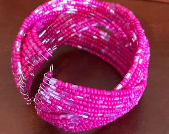 Pink Bangle with bright pink beadwork