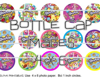 "Shopkins patterns printables white background  4x6 - 1"" circles, bottle cap images, stickers"