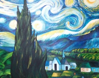 "Painting ""starry night"""