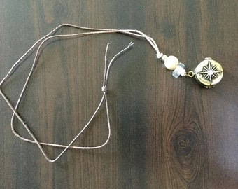 Ombre hemp compass necklace