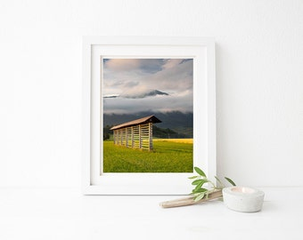 Set of 5 instant downloadable prints. Slovenian hay rack. Printable photographs for wall art, greetings cards and tags, mugs, cushions etc.