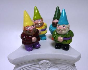 Miniature hand-painted ceramic garden gnomes