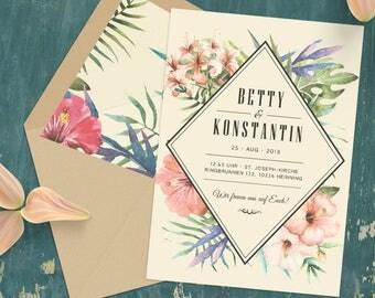 Sommerliche Einladungskarten zur Hochzeit | Wasserfarben Vintage Look | Sommer & Blumen |  Tropical | Trendfarbe greenery