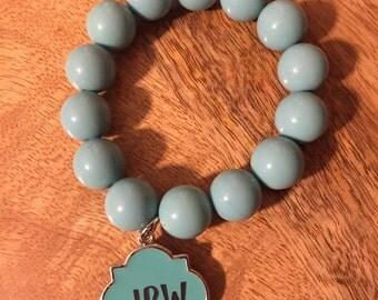 Turquise stretch monogram bracelet