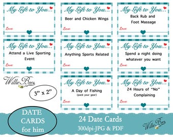 Love Coupons - Love Cards - Gift for him - PDF file - Date Coupons - Love Coupons just for him - My Gift to You - Coupons - Instant Download