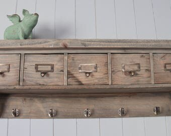 Antique Oak Wall Unit, Coat Rack with Five Drawers
