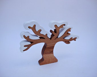 Tree Toy Winter Wooden Tree Puzzle Tree Figurine  Gift for Kids Wooden Toys for Toddler Baby Waldorf Eco Friendly Toy