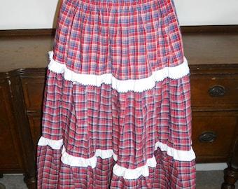 Vintage 1970's ~ Plaid Peasant Skirt ~ Dance Skirt ~ Retro ~ Boho ~ Mid Length ~  Size Small