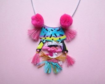 Statement necklace, mixed media, bright necklace, textile, polymer, pink, pom pom necklace