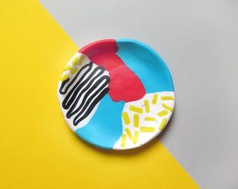 Trinket dish, ring dish, desk decor, small bowl, memphis design inspired, polymer clay, jewelry storage, clay dish
