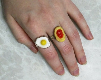 Fried egg ring, Toast with jam ring, Food ring, Breakfast food ring, Miniature food jewelry, bread ring