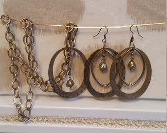 Pounded Metal Earrings  and Necklace Set by BijoubrillianceNmore