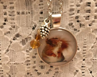 Baby Snow Squirrel Charm Pendant Necklace