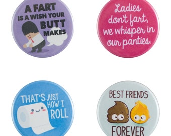 """Potty Humor 8 Pack of 1.25"""" Button Pins"""