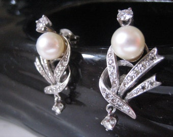 Estate Retro 14K WG Diamond & Pearl Earrings, Graceful, Dazzling, Classic!