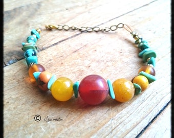 Beaded corn yellow toned glass beads amber ships of African turquoise Bohemian style