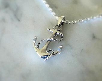Silver Anchor Necklace, Nautical Necklace, Sterling Silver Anchor and Rope Necklace, Sterling Silver Pendant Necklace, Silver Pendant JP0025