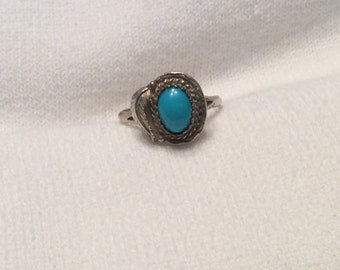 Dainty Womams Sterling Silver Turquoise Ring Robins Egg Blue Stone Navajo Made Old Store Stock New to You Size 7 1/4