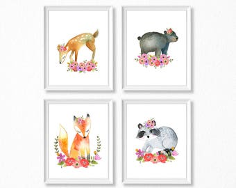 PRINTABLE, Woodland Nursery Art, Floral Animals Nursery Prints, INSTANT DOWNLOAD, bear fox raccoon deer Watercolor Floral Woodland Set of 4