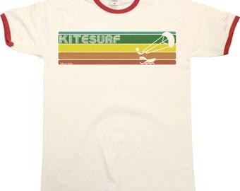 Retro KITESURF Strip Mens RINGER T-Shirt Kitesurfing New