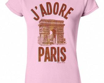 J'Adore PARIS Arc De Triomphe Ladies T-Shirt Retro Birthday Gift New