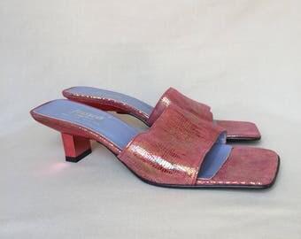 Leather slides / block sandals / block heel sandals / low heels / pink slides / low heel sandals / leather mules / slides / low heel slides