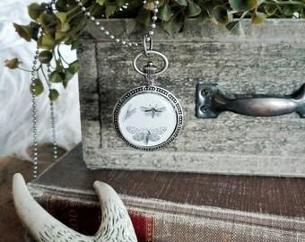 Vintage Moth Pendant Necklace in Antique Silver