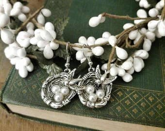 Bird Nest and Pearl Earrings in Antique Silver