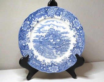 "9 7/8"" Dinner Plate English Village Blue Pattern by Salem China Company"