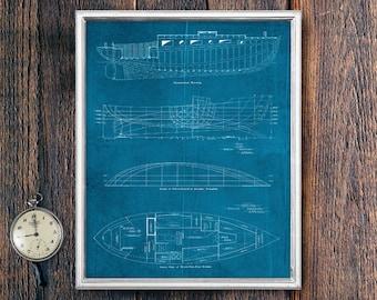 Boat Wall Art, PRINTABLE Ocean Coastal Art, Lake House Decor, Blueprint Wall Art, Printable Art Download, Instant Cabin Sign (16528c)