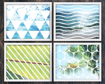 Set of Four Tropical Beach Art PRINTABLES, Large Horizontal Wall Art Prints, Geometric Modern Home Decor, Leaves, Waves, Trees (#16195c-8)