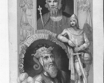 Edward II and Edward III 1860 Antique Print