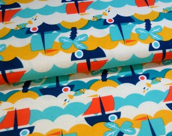 Knit Fabric - Fish 'n' Ships - Organic Cotton Stretch Jersey Fabric by Lillestoff - Beach, Ocean, Sea -Summer - Sailboat - Palm trees - Blue