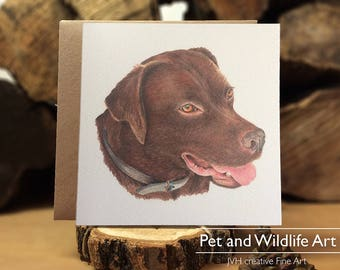 Labrador Retriever, illustrated dog card, blank card, print of coloured pencil dog drawing, Pet Animal, Dog Lovers Gift, Lab lovers