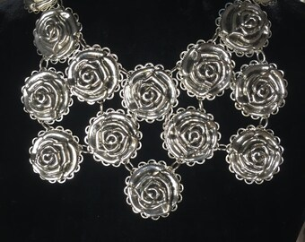 Massive vintage handmade silvertone flower necklace