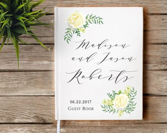 Summer Garden Floral Wedding Guestbook, Custom Guest Book, Personalized Guest Book