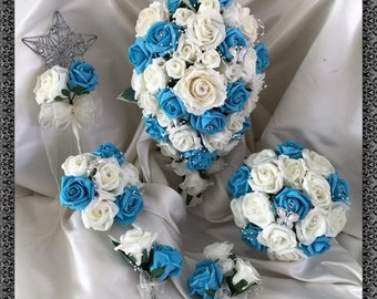 Wedding Flowers Turquoise  & Ivory wedding bouquets with butterflies, Brides, Bridesmaids, Flowergirls etc