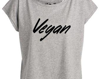 """Woman cutting stylish cotton bio """"VEGAN"""", vegan tshirt tshirt"""