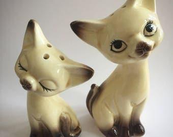 Vintage Cat Porcelain Salt and Pepper Shakers