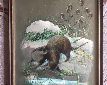 Vintage 1970s Framed Audrey North Otter Print