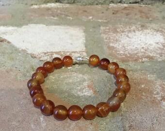 Carnelian beaded bracelet/bangle  on sterling silver wire