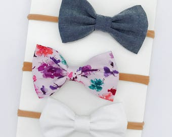 Baby Girl Bow headband set of 3 - clips - nylon - infant / toddler / child bows - white - chambray - purple water color