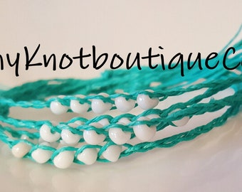 NEW! HANDMADE Turquoise & White Beaded WISH friendship bracelets