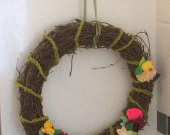 Felt flower spring wreath