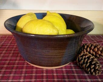 Floating blue pottery bowl, pottery serving bowl, pottery bowl, pottery mixing bowl, ceramic bowl, pottery centerpiece, large pottery bowl