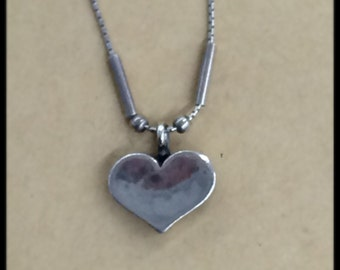 Silver Heart Necklace with Jeweler Stamp - Vintage