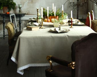 Table Clothes, Pure Linen Table, Handmade Lacework, Linen Tablecloth, Tablecloth linen, Linen Tablerunner, Lace trims