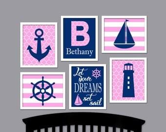 Pink Nautical Nursery Wall Art Decor - Anchor Sailboat - Baby Name Art