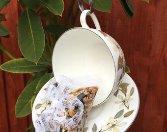 Vintage Tea Cup bird feeder, Wedgewood Beaconsfield China bird feeder, garden ornament, Mothers Day, Easter.Silver trim, with teaspoon hook.